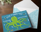 INSTANT DOWNLOAD Octopus I love you this much father's day card print at home printable card nautical under the sea oean squid