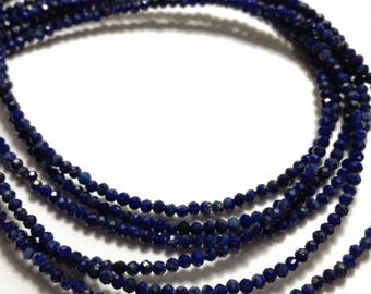 Lapis lazuli 2mm micro-faceted rondelles.   Select a strand length.