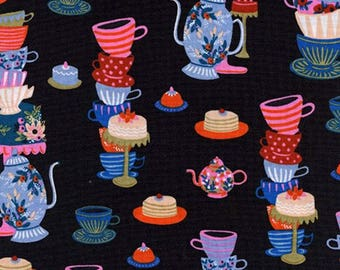 Cotton + Steel - Rifle Paper Co. - Wonderland - Mad Tea Party Black