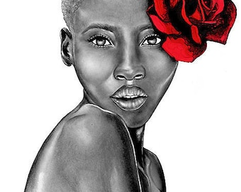 Large Art Print - Uzuri Red - The Beauty Collection