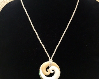 Bone and Wood Wave design with abalone Necklace / Adjustable
