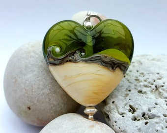 Olive Green & Ivory Lampwork Heart Pendant, Lampwork Glass Necklace, Mothers Day Gift, Birthday Gift, Green Glass Jewellery