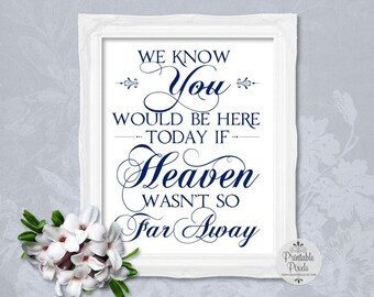 Navy Blue Printable Memory Table Sign, Wedding Sign, We Know You Would Be Here Today, Remembrance (#MM14N)