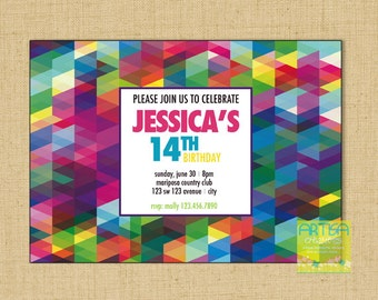 Colorful geometric invitation, Color abstract invitation, multicolor shapes invitation, colorful birthday invitation, colorful teenager invi