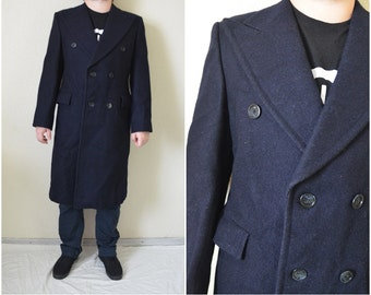 Mens coat Navy double breasted Long jacket Wool Pea coat Mod minimalist Military Vintage Winter structured Overcoat M Medium 102 cm 40 inch
