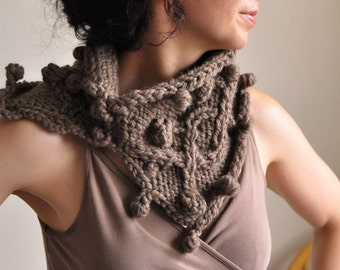 Texture irish cable hand knit neckwarmer knitted cowl wrap chunky scarf snood - Heard It Through The Grapevine in taupe or CHOOSE YOUR COLOR