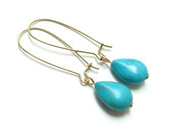 Raw Brass Turquoise Drop Kidney Wire Earrings