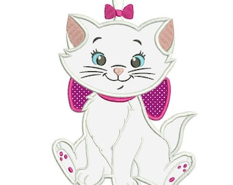 Marie Cat Aristocats Applique Design 3 sizes instant download
