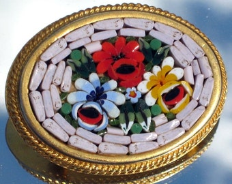 Estate Brooch Pin Micro Mosaic ItaLy Vintage Quality Jewelry Signed Antique FLower Ornate Red Blue Yellow White Elegant Designer Romantic