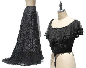 Vintage Black French Lace Corset Top & Skirt