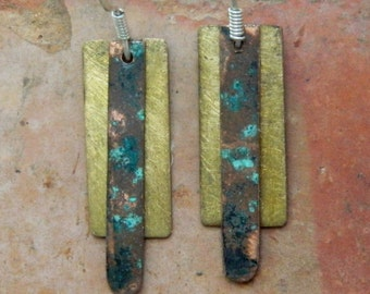 Brass, texture, blue and grey, brass, copper and enamel earrings