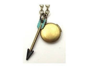 "Turquoise Arrow Small Locket 20"" Antiqued Brass Chain"