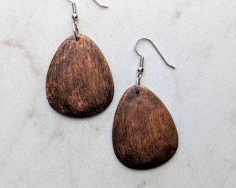 Wood Teardrop Earrings