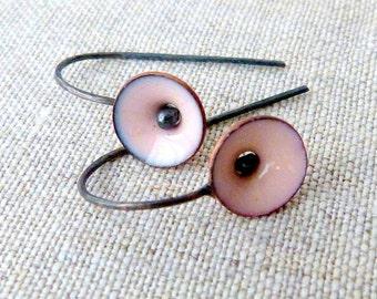 tiny poppy earrings torch fired enamel pale pink sterling silver dangle earrings minimalist jewelry oxidized silver