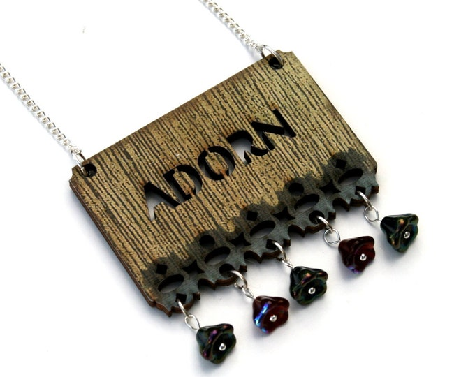 Inspirational 'Adorn' Necklace, Flower Necklace, Wood Jewelry