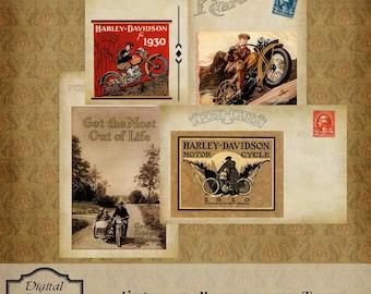 Vintage Motorcycle Postcards Instant Digital Download