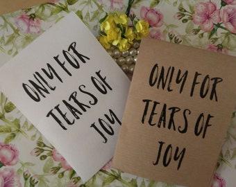 20 Tears of Joy Tissue Packs,White or Kraft Wedding Tissues, for tears of joy, happy Tears Packs, Vintage Design,Customized tissue packs