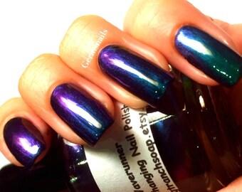 "Free U.S. Shipping - Nail Polish - Multichrome Chameleon Chrome - Purple/Green Color Shifting - ""Waverunner"" - 0.5 oz Full Sized Bottle"
