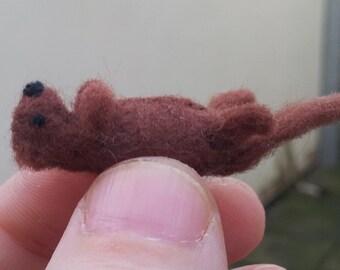 Tiny River Otter - miniature otter - felt otter - mini otter ornament - needle felt otter - otter plush - stuffed otter
