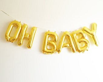 """OH BABY letter balloon banner- 16"""" air fill - baby shower gender reveal birth announcement - gold blue pink silver"""