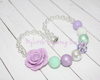 Lavender and Mint Chunky Necklace-Lavender Mint Green White Pearl-Bubblegum Necklace-Baby-Toddler-Girls-Women
