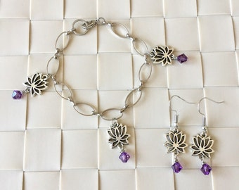 Lotus Flower Bracelet and Earrings Set, Flower Bracelet, Flower Earrings, Purple Crystal Bracelet, Mother's Day Gift, Birthday Gift