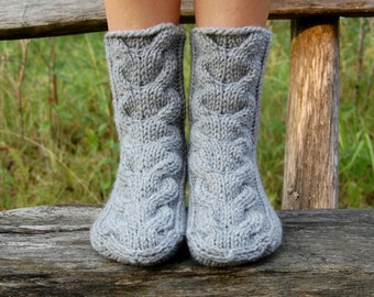 Knit Winter Wool Slipper Socks, Knit Chunky Slipper Socks, Cable Knit Slipper Booties, Gripper Socks, Knit Indoor Clogs,  Christmas Gift
