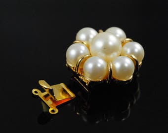 Vintage Necklace Clasp-Vintage Pearl Clasp-Marvella Clasp-Art Deco Clasp-Vintage Gold Clasp-Gold and Pearl Claso-NOS