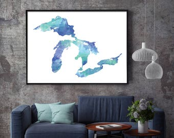 Great Lakes Watercolor Map, Great Lakes Map, Watercolor Map, Great Lakes Print, Great Lakes Poster, Travel Map, Great Lakes Art, Watercolor