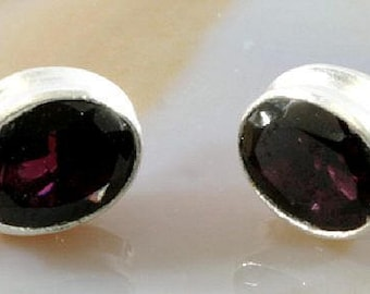 Ear studs , 925 sterling silver with beautiful garnet
