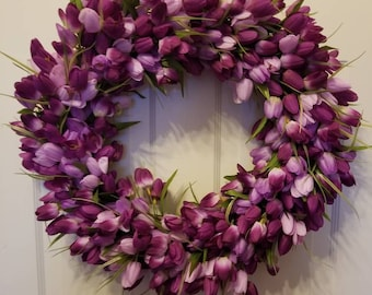 23' Tulip wreath / spring wreath / front door wreath / holiday wreath / Easter wreath / summer wreath / door wreath