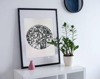 Grey screen print, grey art print, nature print, grey wall art, abstract print, nature art print, circle print, a2 print, Valentines day