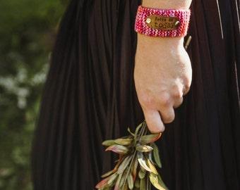 Religious Bracelet, Custom Hand Stamped Pink Cuff Bracelet, Inspirational Jewelry, Wrist Tattoo Cover