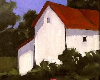 Farm House Cottage Barn Painting Landscape California Plein Air Impressionist Art Lynne French o/c 8x10