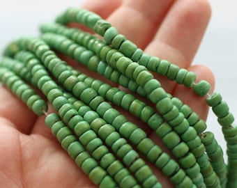 "15""- 150pc green coconut beads, coco beads, bead strands, coconut rondelle beads, green beads, coconut beads, natural beads, heishi beads"