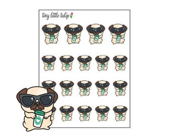Planner Stickers Pug Drinking Coffee