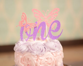 Butterfly cake topper, ONE Cake topper, Gold one Cake Topper, Smash Cake Topper, First Birthday Cake Topper