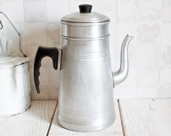 "Vintage French ""LE TREFLE"" Aluminum Coffee Pot 