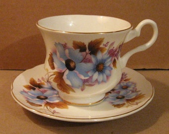 Vintage Royal Grafton Fine Bone China Blue Floral Cup and Saucer