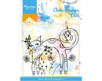 Stamp clear Marianne Design, Cats, cat back round, mixed media, Scrapbooking, Cardmaking, crafting