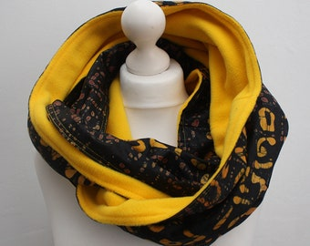 Brown snood scarf, Infinity scarf, Circle scarf, Hooded scarf, African Print Scarf, Afrocentric scarf, Fleece Scarf, Colourful snood