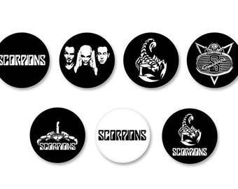 Lot Pins Ø25mm - o38mm Pinback Button Badge / Magnet o38mm Scorpions Rock