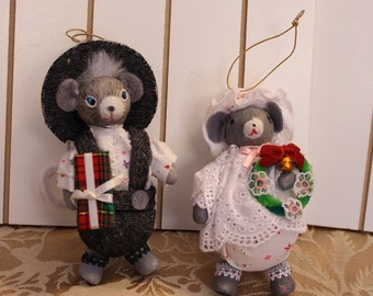 Vintage Two Mice in their best Attire Christmas Ornaments Mouse Couple