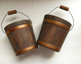"Rustic Wood Bucket - Autumn wedding decor, 3"" miniature bucket, winter wedding favor, rustic wedding decor, woodland wedding, set of 2"