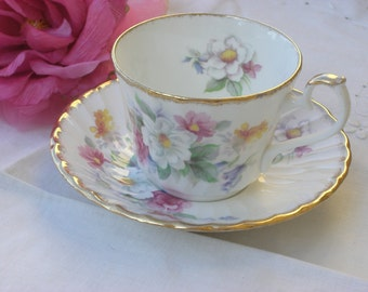 Cup and Saucer - Royal Kendal  - Floral Bouquet - English Bone China - Vintage