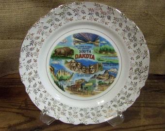South Dakota Souvenir Plate Vintage State Plate South Dakota Plate