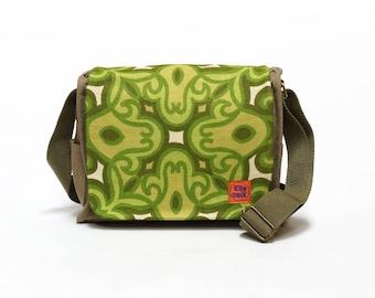 Canvas Bag, Green Vintage Fabric upcycled bag, canvas saddle bag, retro handbag by EllaOsix