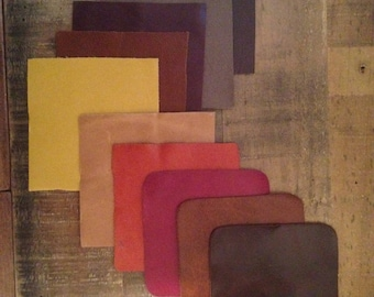 """Top Grain Leather Swatches x10 Surprise Assortment 4""""x4"""" Square cuts for Craft Use"""