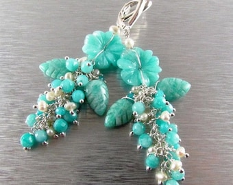 15% Off Carved Amazonite Flower and Leaves Cluster Earrings