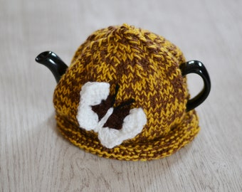Teapot Cozy Butterfly Brown and Mustard Chunky Knit 1-2 Cup